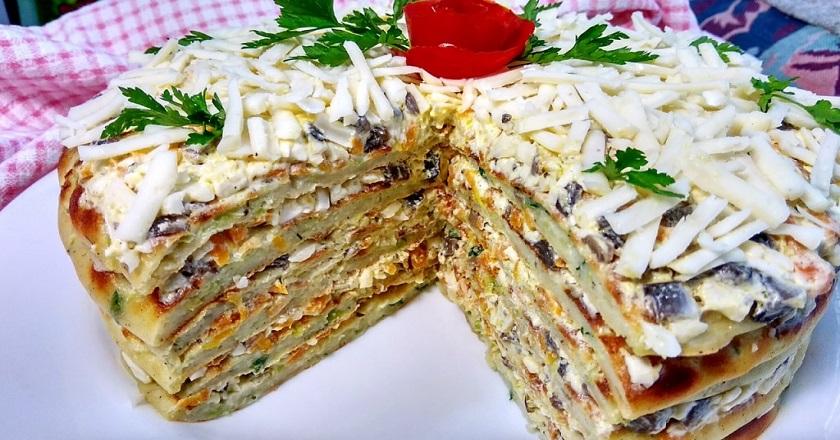 Кабачковый торт с грибной начинкой. Что ни кусочек — то наслаждение.