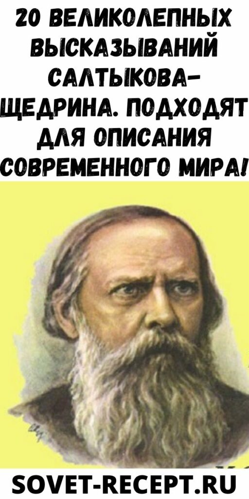 20 великолепных высказываний Салтыкова-Щедрина. Подходят для описания современного мира!